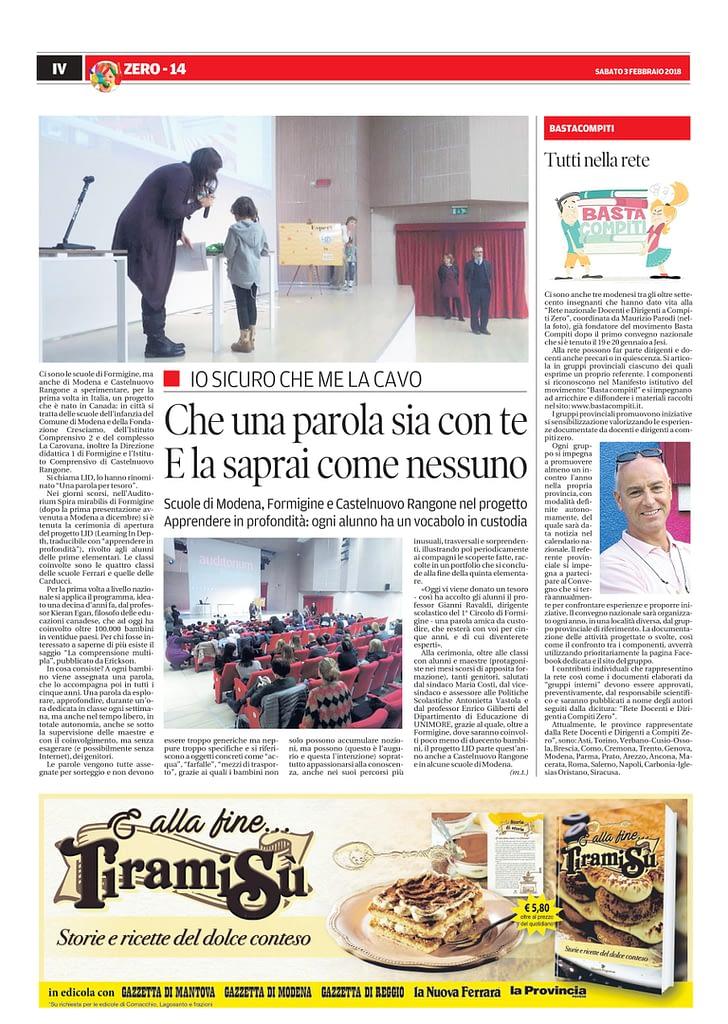 Pagina quotidiano gazzetta di modena inserto